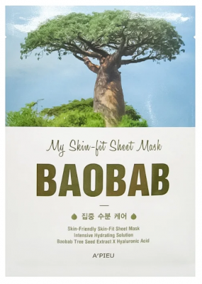Тканевая маска с баобабом A'PIEU My Skin-Fit Sheet Mask Baobab 25г: фото