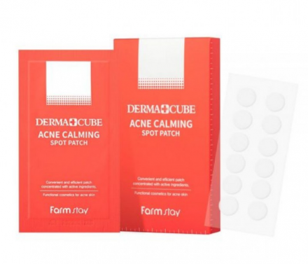 Патчи успокаивающие локального применения для проблемной кожи FarmStay DERMA CUBE Acne Calming Spot Patch 12шт*10уп: фото