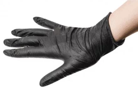 Перчатки одноразовые латексные Sibel Black&Pro Размер S, черные 100шт: фото