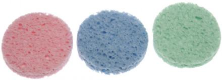Комплект спонжей для ухода за кожей 70мм разные цвета 12шт: фото