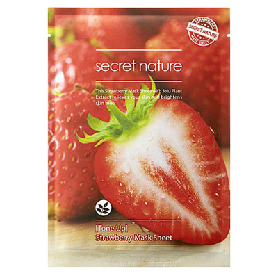 Маска для лица тонизирующая с клубникой Secret Nature Strawberry mask sheet 25г: фото